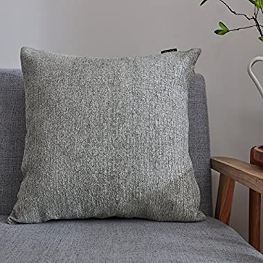 Hey Tang Chenile Velvet Soft Soild Decorative Square Throw Pillow Covers Set Cushion Case for Sofa Bedroom Car 24 x 24 Inch 60 x 60 Cm,Gray