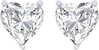 Clara 92.5 Sterling silver White Gold Plated Heart Solitaire Stud Earring Screw Back For Women & Girls