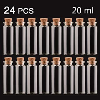 QMET 24PC 20ML Cork Stoppers Glass Bottles,DIY Decoration Bottles Mini Glass Bottles Potion Bottles Message Bottle Wishing Bottles for Wedding Birthday Party Favors