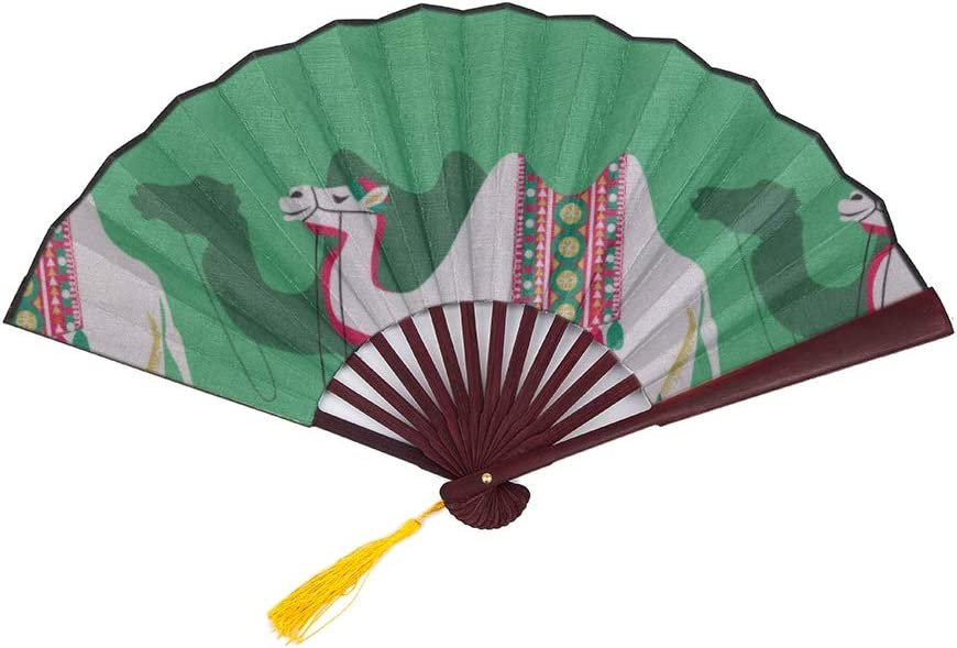 Finally resale start Wuhufy Folding Fan Bamboo Natural It is very popular with Cartoon Camel Wild Animal