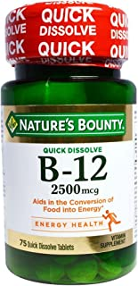 Sponsored Ad - Nature's Bounty Vitamin Quick Dissolve B-12 2500 mcg Tablets, 75 ea (Pack of 2)