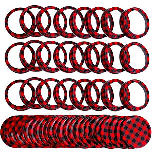 Ruisita 24 Set Regular Mouth Split-type Lids Rings and Bands Reusable Metal Mason Canning Jar Lids Christmas DIY Lids for Xmas Wreaths Ornaments