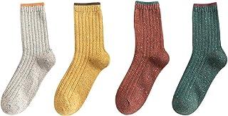 GDSSX, GDSSX Tejer Calcetines y otoño Invierno Calcetines Calientes de Las Mujeres Calientes de Las señoras térmica de Tejer Calcetines for el Invierno 4 Pares Regalos para Damas
