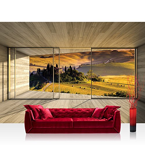 Fototapete 254x184 cm PREMIUM Wand Foto Tapete Wand Bild Papiertapete - Landschaft Tapete Toskana Landschaft HolzoptikRahmen braun - no. 1531
