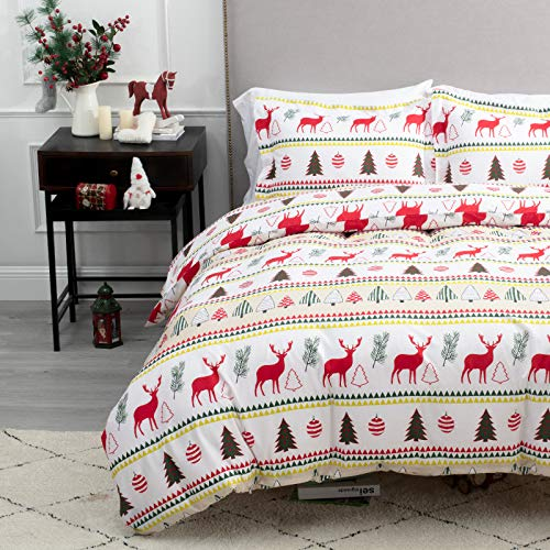 Bedsure Christmas Duvet Cover Set, 3 Pieces King Size Comforter Cover Set 90'x104', Super Soft New Year Holiday Bedding Set, Red with White Christmas Reindeer