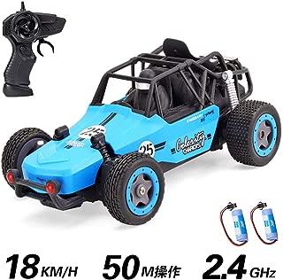 ラジコンカー 車おもちゃ RCリモコン 無線電動 1/20 2.4GHz 高速 多機能 USB充電式 初心者向け 人気 子供の贈り物(バッテリー×2 ブルー)