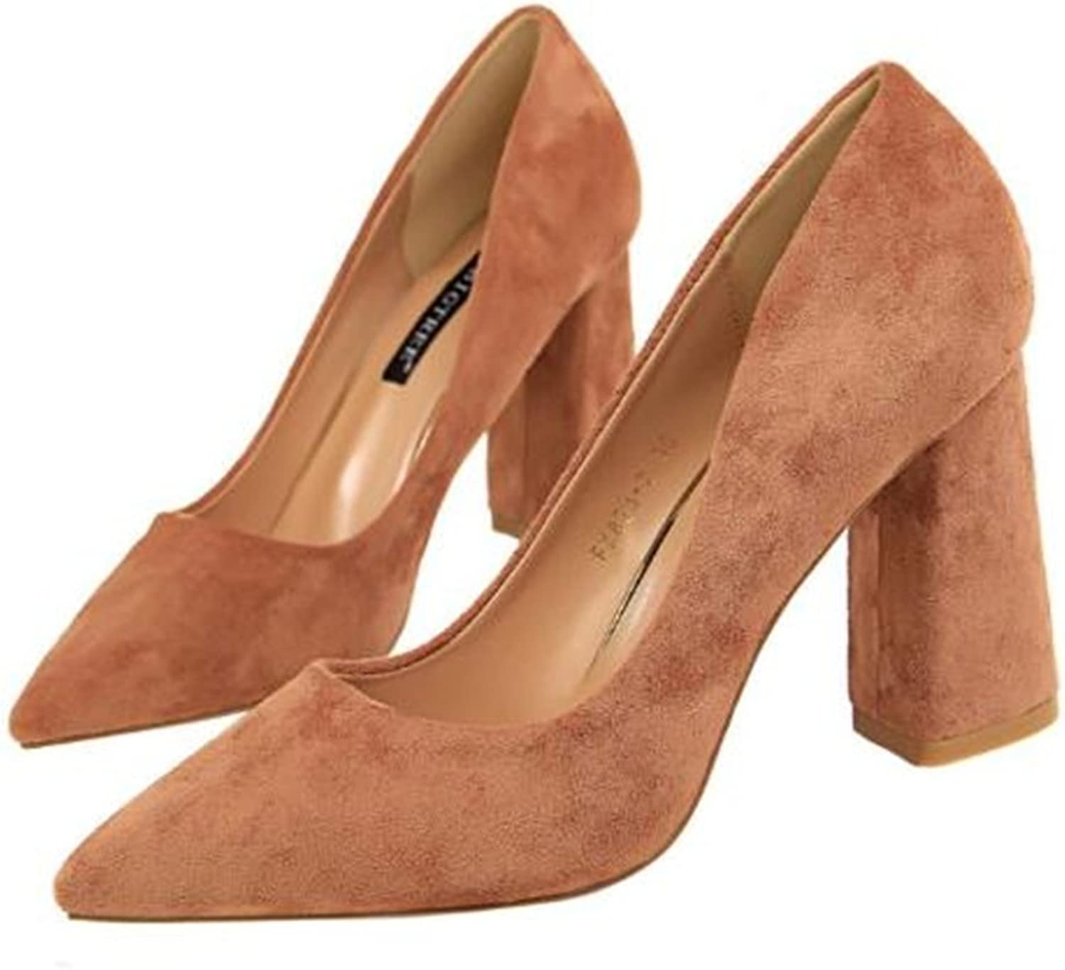 TUYPSHOES Women Suede High Heel Pumps Classic Pointy Toe Slip On Formal Block shoes Work Pumps shoes