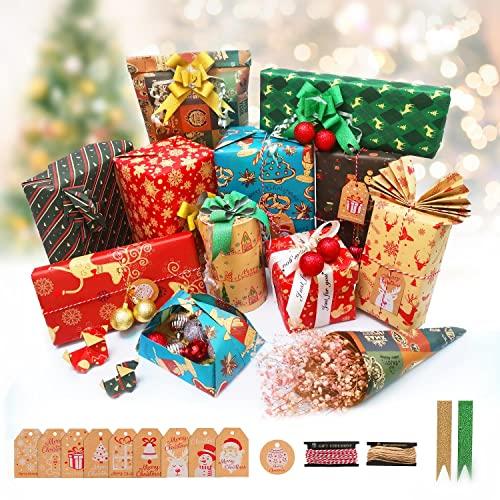 Papel Regalo Navidad, KAPBOP Papel de Regalo Kraft Navidad 10 Hojas, Reciclable Papel de Regalo Rollo Grande, Con Etiquetas Regalo, Cinta de Navidad, Cuerda Algodon 70 cm x 50 cm