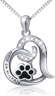 925 Sterling Silver Cute Paw Print Forever Love Heart Pendant Necklace/Bracelet/Stud Earrings Gift for Women Teen Girls, Box Chain 18