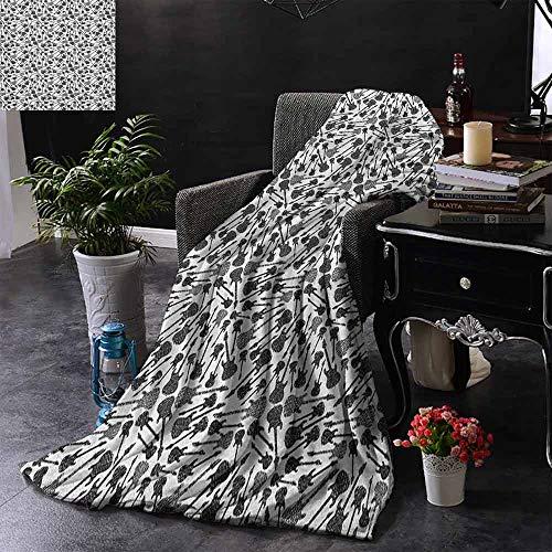 ZSUO bont gooien deken Grunge Stijl Hand Drawn Stijl Elektrische gitaren Sketch Rock Pop Vibes Print Gezellige en Duurzame Fabric-Machine Wasbaar