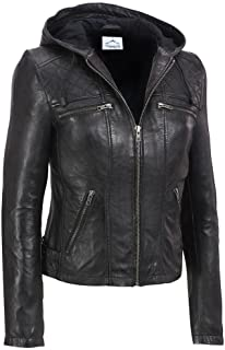 VearFit Women's Funterium Quailted Hooded Missy Regular Black Real Leather Jacket