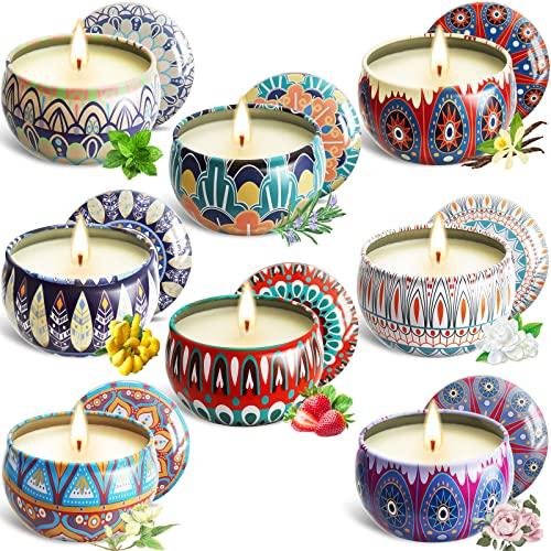 MAISITOO Velas Perfumadas Juego de 8 piezas Vela Aromática Regalo de Velas de Aromaterapia Cera de Soja Natural,Juegos de Velas para Cumpleaños,Aniversario, Día de la Madre,Navidad,Regalos Mujer