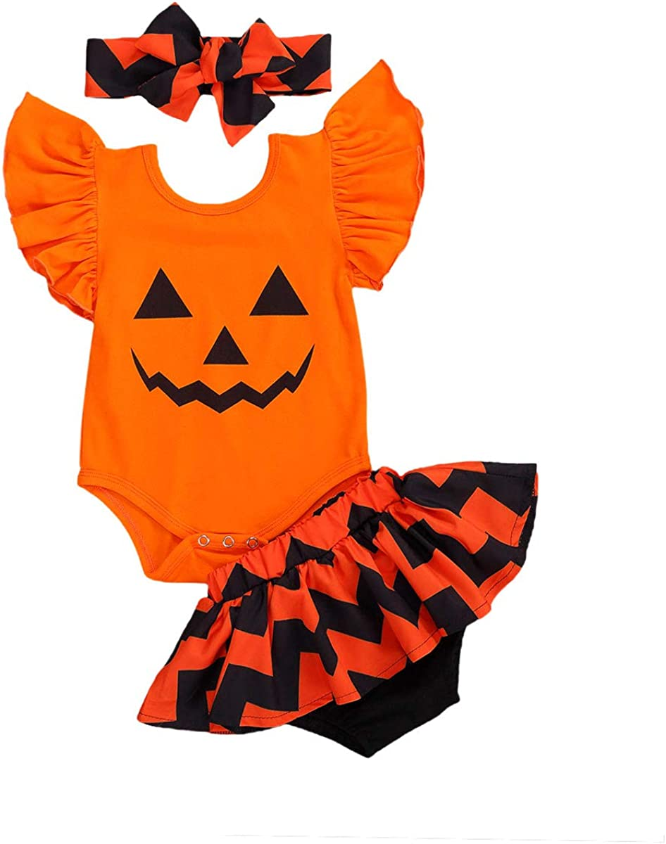 3Pcs Newborn Baby Girls Boys Halloween Outfits Pumpkin Long Sleeve Romper Bodysuit Hat Socks Set 0-18M