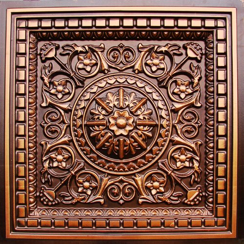 """Drop Ceiling Tile 0vc-2 Faux Antique Copper by Us.inc for Lowest Price Plastic, 24""""x 24"""" PVC 3 Dimension,Depth 1"""" Glue On,Tape on Over Wainscoat, Sheet Rock.PVC.Class A Fire Rated."""
