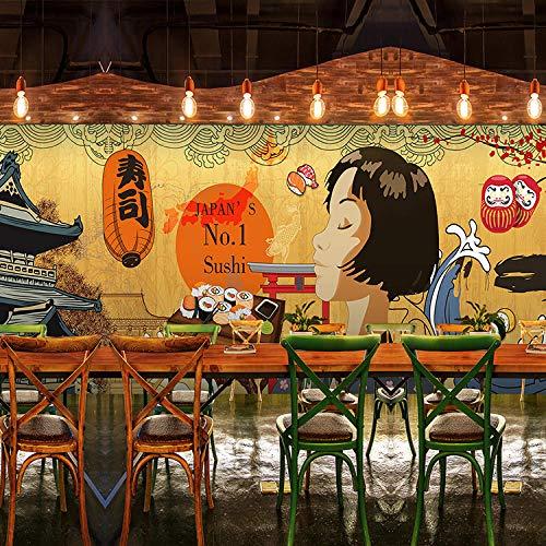ZDBWJJ Individuele foto Japanse karikatuur karikatuur behang Japanse stijl restaurant retro gebäude hot pot grill behang wandafbeelding 350 cm x 245 cm.