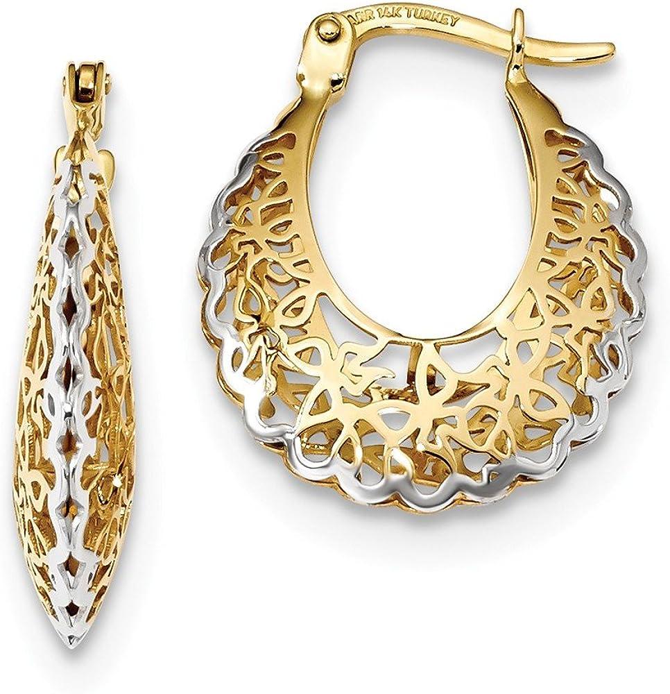 14k Yellow Gold Filigree Hoop Earrings Ear Hoops Set Fine Jewelry For Women Gifts For Her