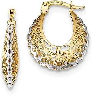 14k Yellow Gold Filigree Hoop Earrings Ear Hoops Set Fine Jewelry Gifts For Women For Her