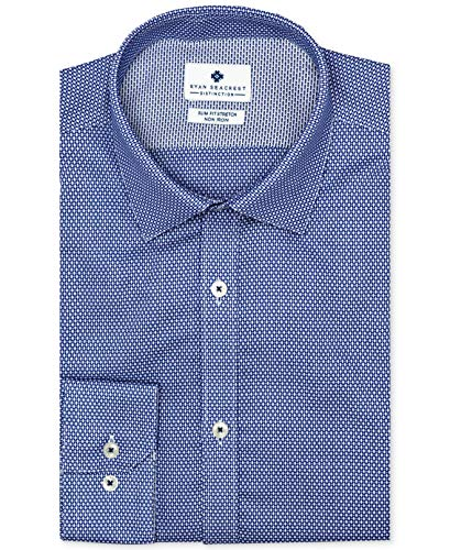 Ryan Seacrest Mens Printed Slim Fit Dress Shirt Navy