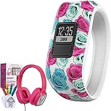 Garmin Vivofit Jr. Activity Tracker for Kids, Regular Fit - Real Flower (010-01634-02) with Bonus Deco Gear Kids Safe Ears Headphones