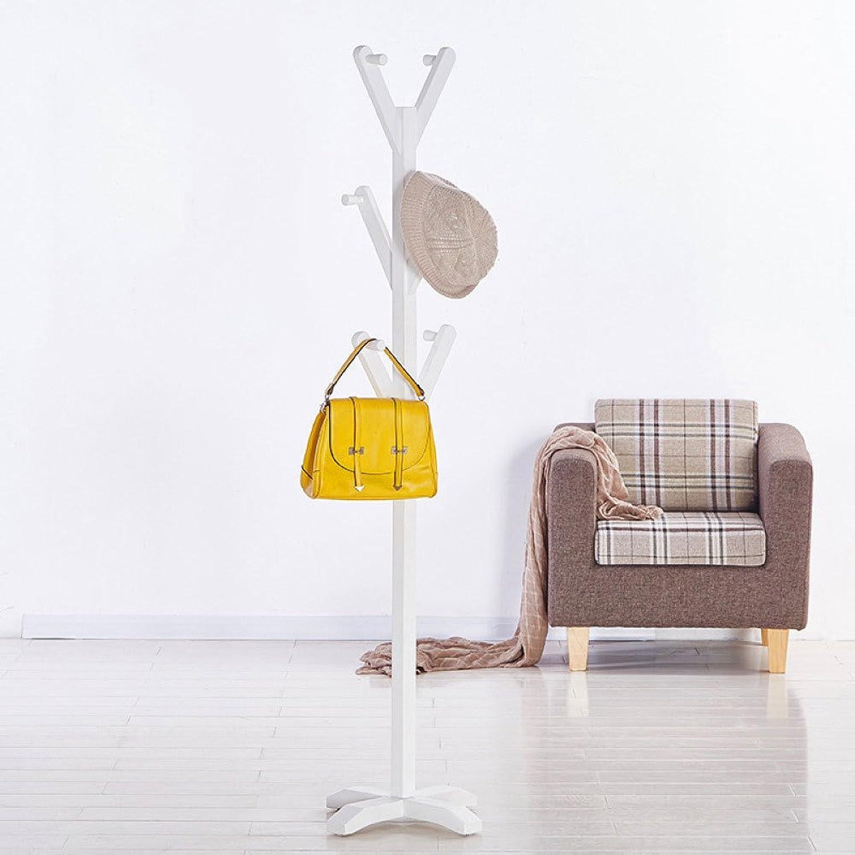Coat Rack Solid Wood Bedroom Living Room Creative Hanger,White