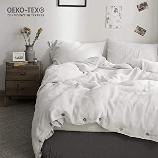 Simple&Opulence 100% Pure Linen Duvet Cover Set 3 Piece Comforter Cover Sets with Buttons Closure Soft Bedding(White,Full)