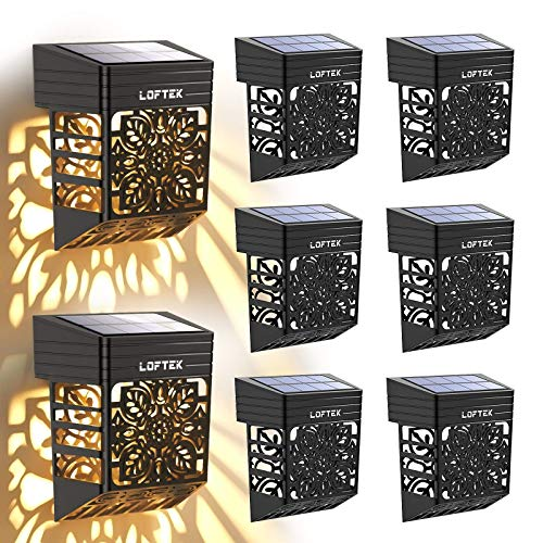 LOFTEK Solar Fence Step Lights Outdoor, AUTO Turn ON/Off Solar Deck Lamps, Waterproof Garden Patio Decorative Fence Lighting for Porch, Yard, Patio, Front Door, Landscape, Stair, Warm White 8 Pack