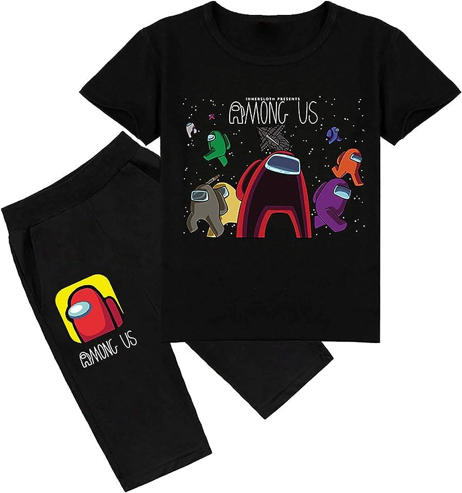 Among Us T-Shirt Set Boy and Girl Cartoon Short Sleeve Shorts Suit