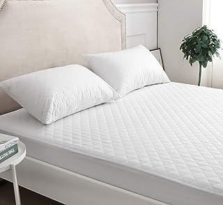 mTextile Protector de colchón acolchado de polialgodón, 30 cm de profundidad, para cama individual, doble, king y super king, litera de 1,2 m (super king)