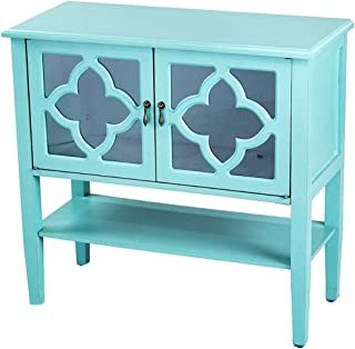 Heather Ann Creations Modern 2 Door Accent Console Cabinet with 4 Pane Clover Glass Insert and Bottom Shelf Turquoise