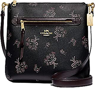 Coach Mae File Crossbody With Ribbon Bouquet Print Black Pink Multi