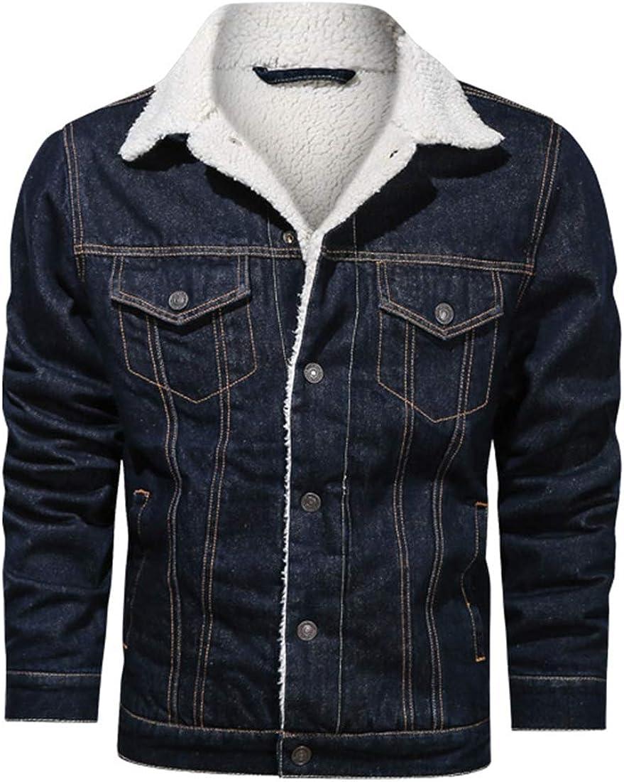 Omoone Men's Winter Slim Fit Quilted Fleece Lined Button Down Denim Trucker Jacket