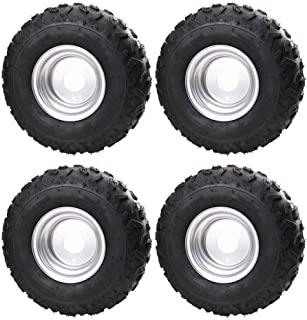TDPRO 4PCS 145/70-6 Tires With 6 inch Wheels Rims for ATV Go Kart