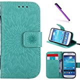Galaxy S4 Mini Case,LEECOCO Fancy Embossed Floral Pattern Wallet Case with Card/Cash Slots [Kickstand] Shockproof PU Leather Flip Case Cover for Samsung Galaxy S4 Mini i9190 Mandala Green