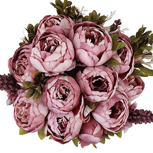 Nubry 2 Piezas Artificial Peonía Seda Flores Bouquet para Boda Inicio Jardín Fiesta Decoración (Primavera Cameo Brown)
