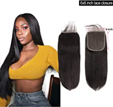 Brazilian Straight Human Hair Lace Closure 6x6 Lace Closure With Baby Hair Pre Plucked Free Part Swiss Lace Bleached Knots Unprocessed Virgin Human Hair Extensions For Black Women 1b(10 Inch)