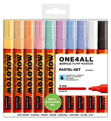 Molotow One4All 227HS Acryl Marker (Pastell-Set, 4 mm Spitze, hochdeckend und permanent, UV-beständig, für fast alle Untergründe) 10 Stück sortiert