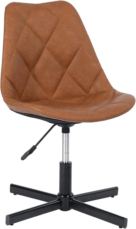 FurnitureR Adjustable Task Office Tub Chair Black Metal Base Leg (Brown PU)
