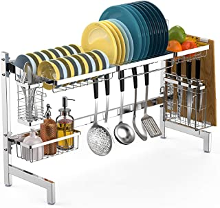 Over the Sink Dish Drying Rack, Veckle Large Dish Rack Stainless Steel Dish Drainer w Utensil Holder Cutting Board Holder Kitchen Counter Over Sink Shelf Storage Rack, Silver