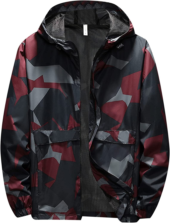 FORUU Camo Jackets for Men 2021,Fall Winter Fashion Windbreaker Printed Hooded Windproof Outdoor Thin Jacket Trench Coat
