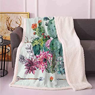 Twin Blanket Throw Blanket for Couch Cactus,Spring Garden with Boho Style Bouquet of Thorny Plants Blossoms Arrows Feathers,Multicolor 50