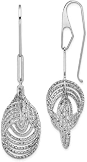 Mia Diamonds 925 Sterling Silver Solid 7-8mm White Fw Cultured Pearl Cubic Zirconia Dangle Earrings 25mm x 8mm
