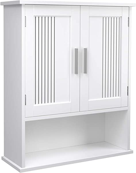VASAGLE Wall Cabinet Hanging Bathroom Storage Organizer Medicine Cupboard With Adjustable Shelf Double Doors And Open Shelf 23 6 X 7 8 X 27 5 Inches Wooden White UBBC26WT
