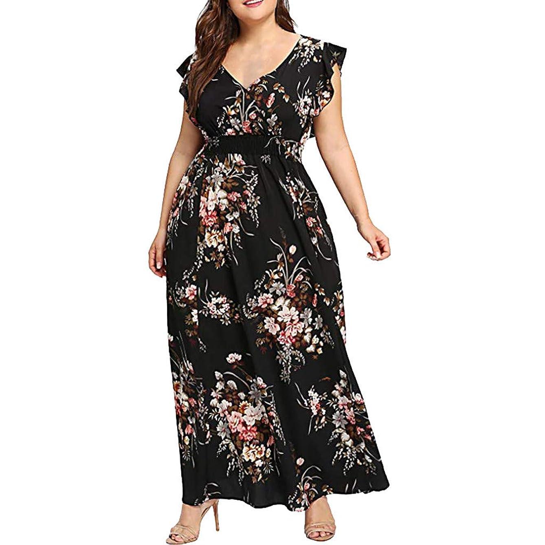 Ladies Dress Women's Plus Size Long Maxi Dresses V-Neck Sexy Evening Party Dress Short Sleeve Floral Boho Dress