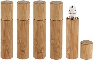 IPOTCH 5pcs 10ml Natural Bamboo Essential Oil Roll On Vials Makeup Liquids Perfume Rollerball Bottle