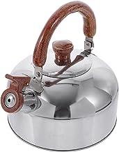 BESTonZON Fajki ze stali nierdzewnej z drewnianym uchwytem, herbata, czajnik, czajnik, kuchenka, czajnik elektryczny, 3 l