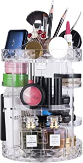 Rotating Makeup organizer 360 Degree adjustable Multi-Function Clear Cosmetic Storage with Large Capacity 11 x 8 inches for girls