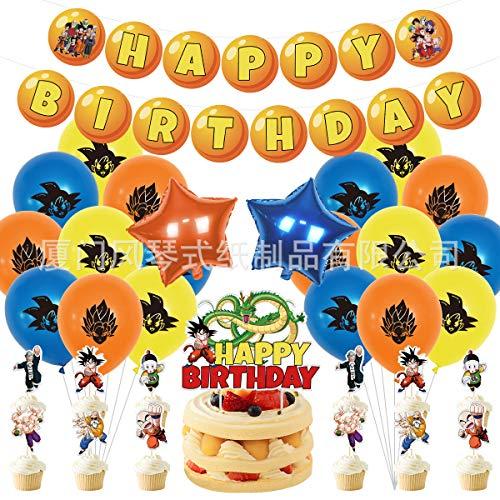 Dragon Ball Luftballons Geburtstag Goku Latex Luftballons Deko Partyballon, Happy Birthday Banner Cake Topper Folie Ballons für Themen Geburtstag Party Dekoration