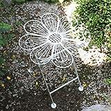 zenggp Silla Plegable De Jardín Silla De Hierro Forjado para Balcón Muebles Florales Acabado Crema Antiguo,White