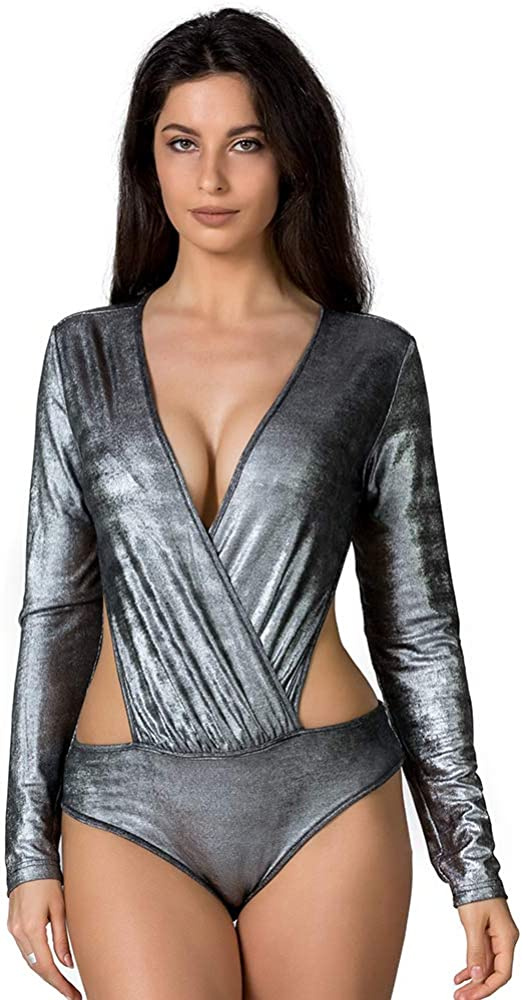 LAIZI Women Sleeveless Sexy Bodysuit Glitter Strap Leotard Sequin Backless Party Clubwear One Piece Jumpsuit Outfit
