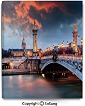 Painting on Canvas Print Alexandre 3 Bridge Paris France Palace Golden Color Peaceful Surface Waterscape Wall Art Picture for Living Room Bedroom Wall Decor (16 x 24 inch, Framed)